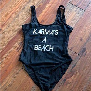 Black one piece swimsuit Karma's a Beach small
